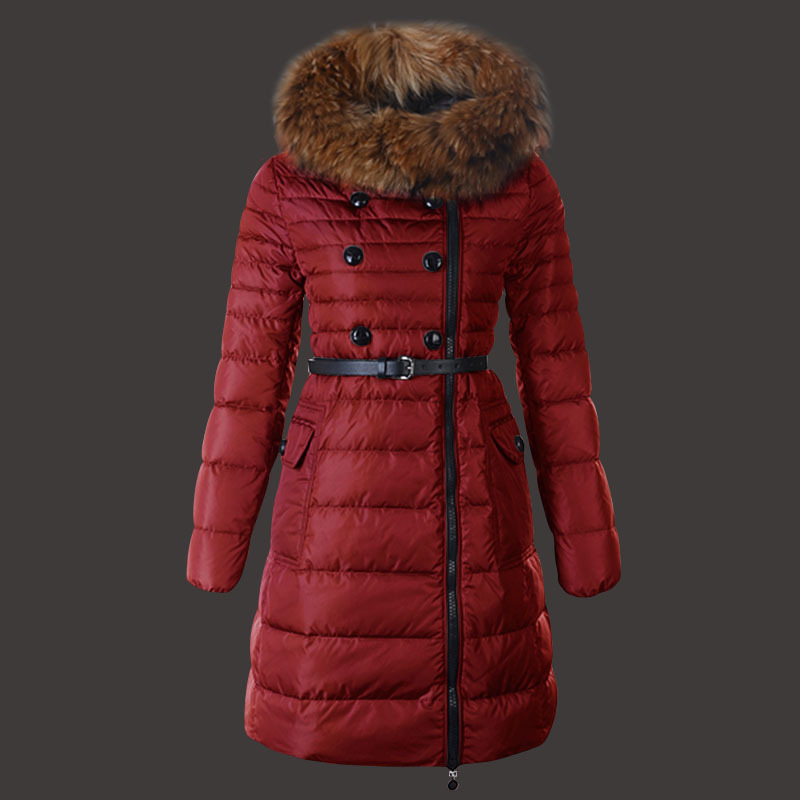 Moncler Herisson Coat Womens Long Red