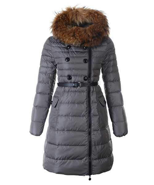 Moncler Herisson Fashion Coat Women Long Gray