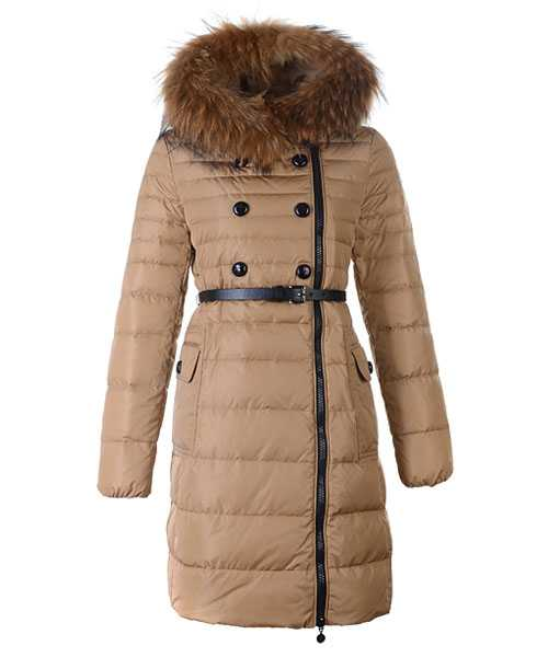Moncler Herisson Fashion Coat Women Long Khaki