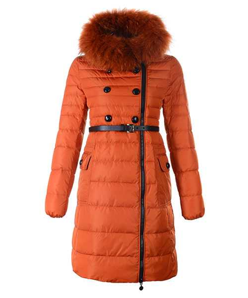 Moncler Herisson Fashion Coat Women Long Orange