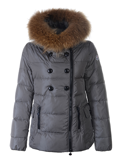 Moncler Herisson Women Short Jacket Hooede Gray