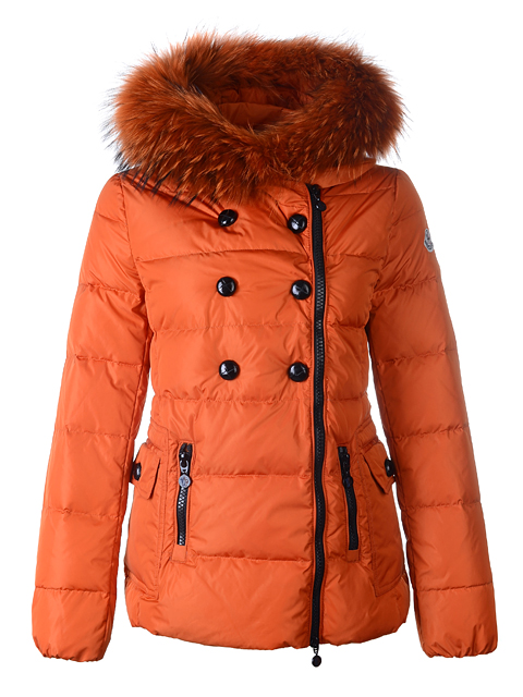 Moncler Herisson Women Short Jacket Orange Fur