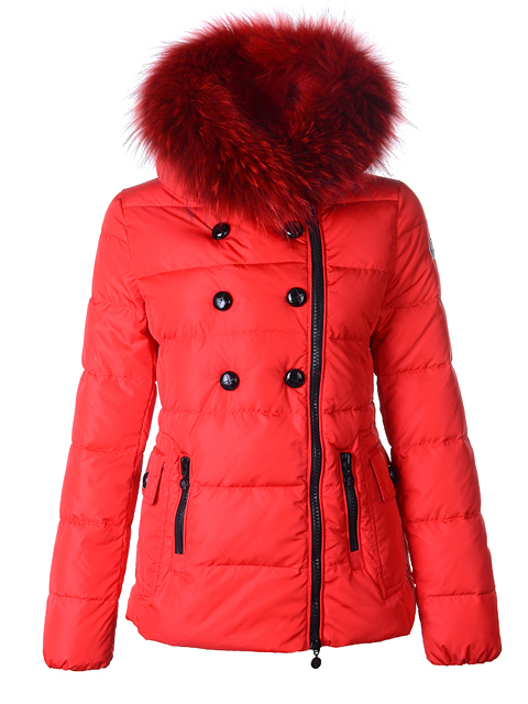 Moncler Herisson Women Jacket Short Fur Red Down Jacket