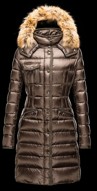 Moncler Men's Fur Hood Coat Winter Woman Brown