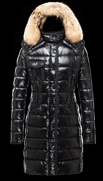 Moncler Hermifur Fur Hood Coat Winter Woman Black