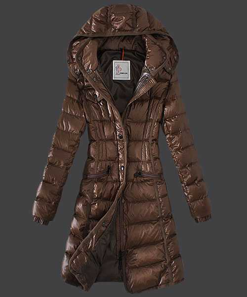 Moncler Hermine Down Coats Women Windproof Coffee