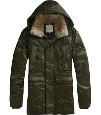 Moncler Men's Coat hat fur collar Green