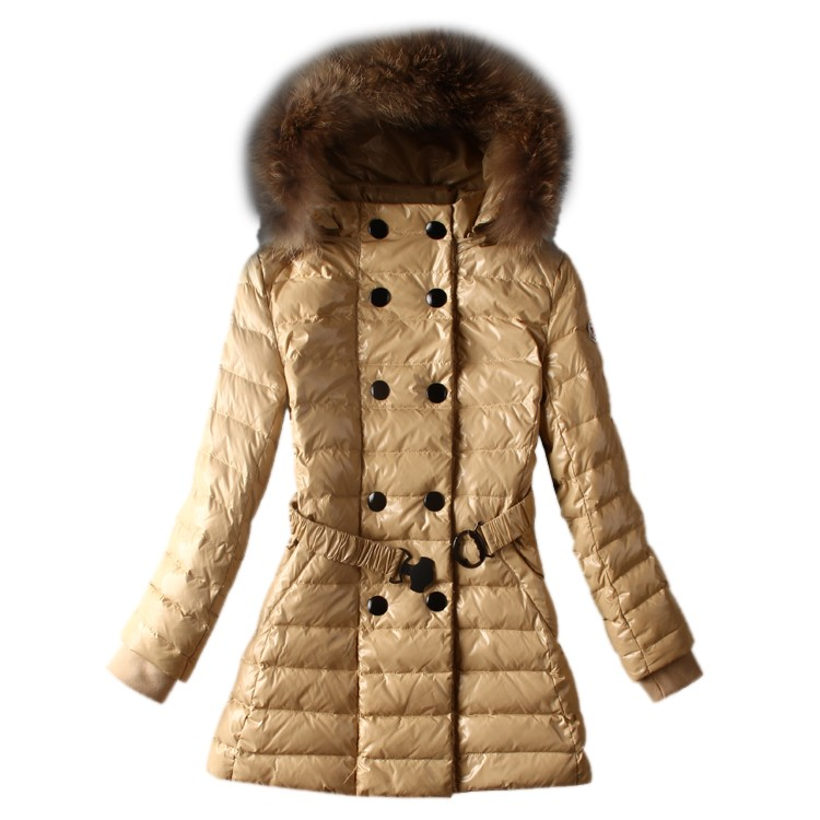 Moncler Hooded Apricot Coat Women