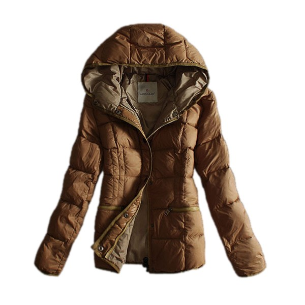 Moncler Hooded Camel Coat Women
