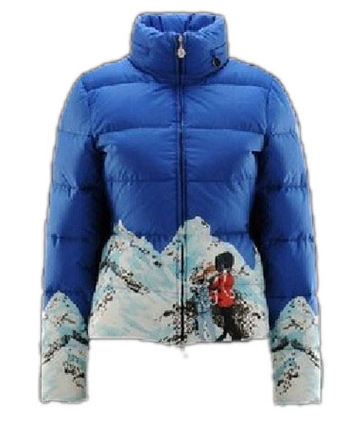 Moncler Illustrated Jacket Women Blue Short