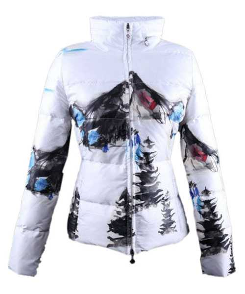 Moncler Illustrated Jackets Women White Blue Short