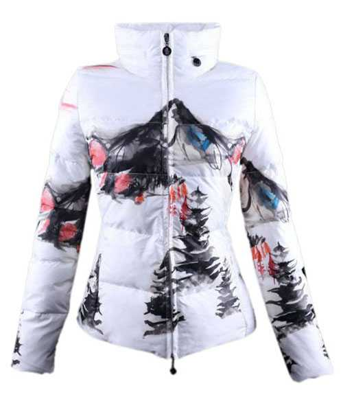 Moncler Illustrated Jackets Women White Red Short