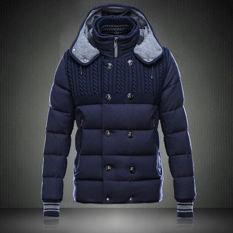 Moncler Jackets For Men Blue With Mock Collar