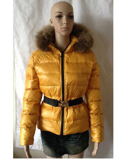 Moncler Jackets For Women Yellow With Fur Cap Golden Waistband