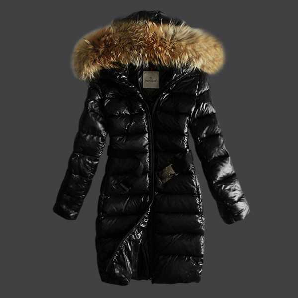 Moncler Jackets Women Long Black Fourrure