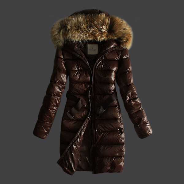 Moncler Jackets Women Long Coffee Fourrure