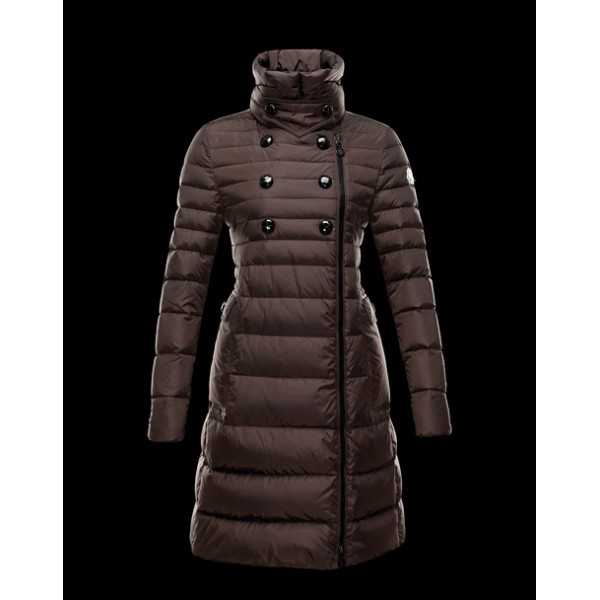 Moncler Jackets Women Long Herisson Brown