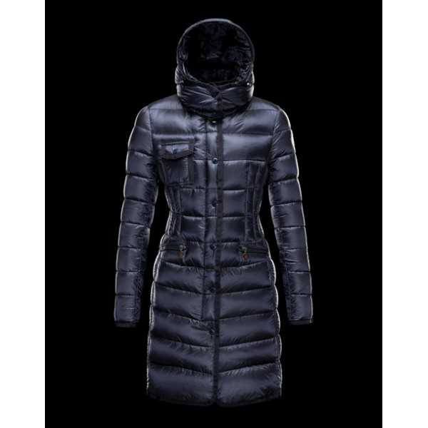 Moncler Jackets Women Long Hermine Blue