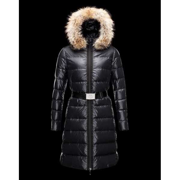 Moncler Jackets Women Long Nantesfur Black