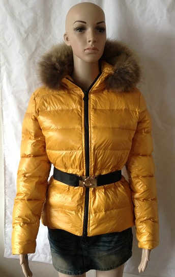 Moncler Jackets Women Yellow With Fur Cap Waistband