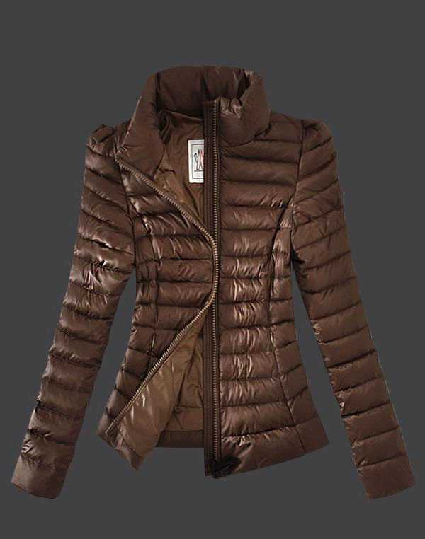 Moncler Jackets Womens Zip Slim Stand Collar Coffee