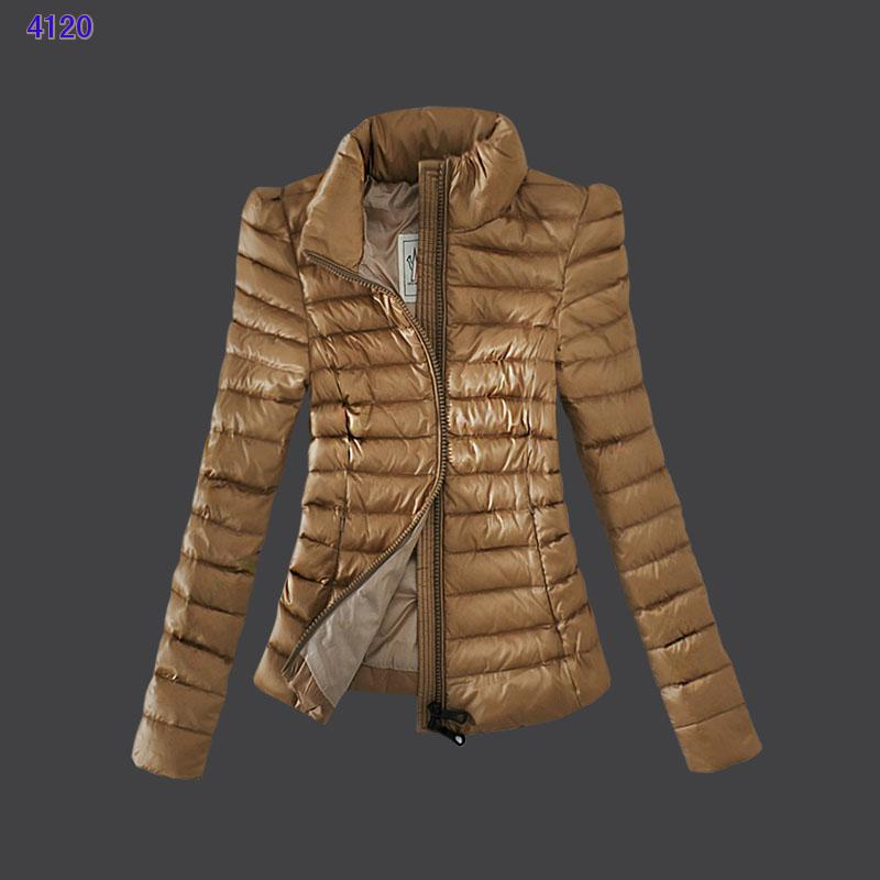 Moncler Jackets Womens Zip Slim Stand Collar Light Tan