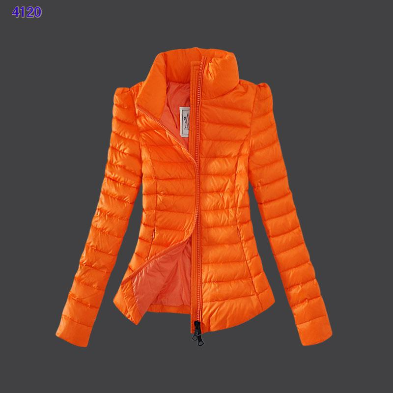 Moncler Jackets Womens Zip Slim Stand Collar Orange
