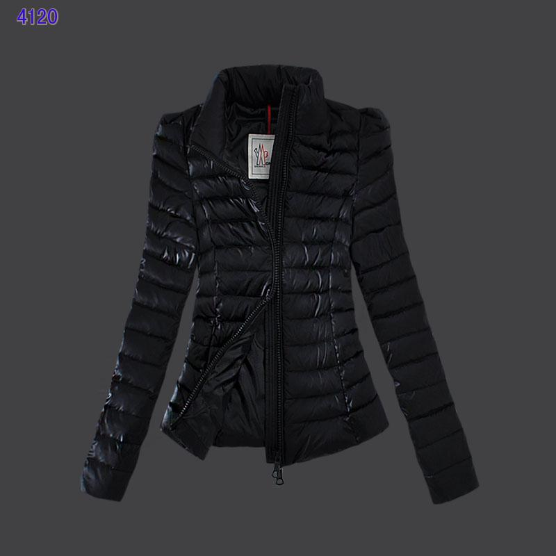 Moncler Jackets for Womens Zip Slim Stand Collar Black