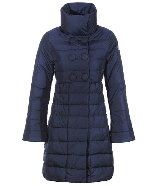 Moncler Johanna Coats Down Women Blue Stand Collar