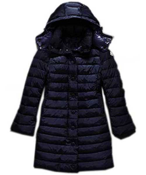 Moncler Jura Women Down Coats Single Breasted Hooded Dark Blue