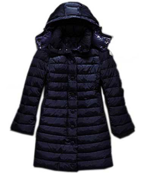 Moncler Jura Womens Down Coats Single Breasted Hooded Dark Blue