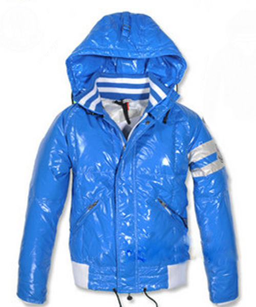 Moncler Leon Down Jackets Mens With Hooded Zip Blue