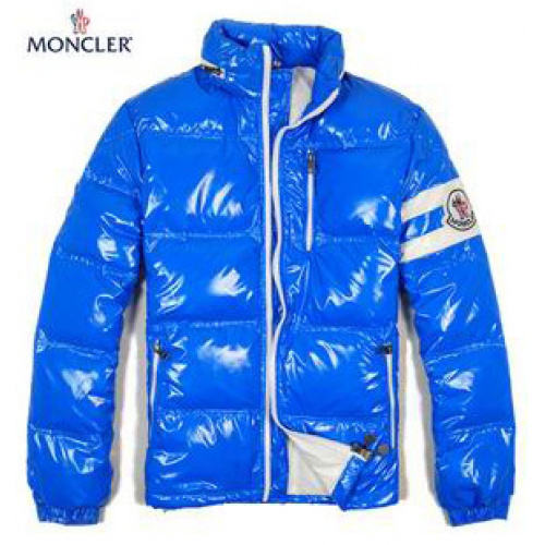 Moncler Leon Down Jackets Mens With Hooded Zip Sky Blue
