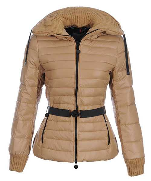 Moncler Lierre Women Jackets Sweater Collar khaki
