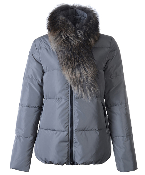 Moncler Lievre Classic Women Down Jackets Gray Short