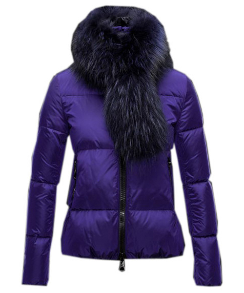 Moncler Lievre Classic Women Down Jackets Purple Short