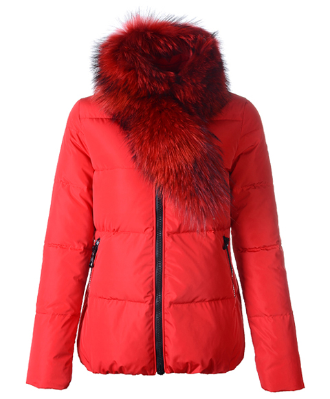 Moncler Lievre Classic Women Down Jackets Red Short