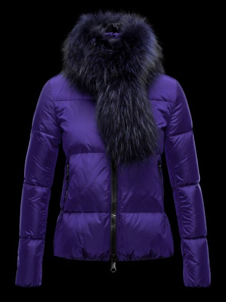 Moncler Lievre Womens Short Jacket Blue Fur Collar