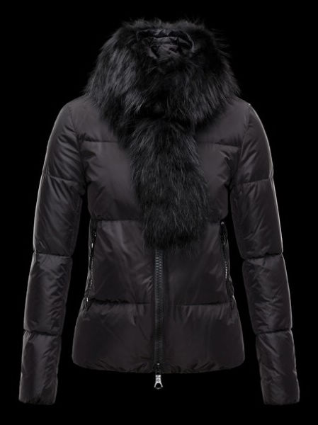 Moncler Lievre Womens Short Jacket Black Fur Collar