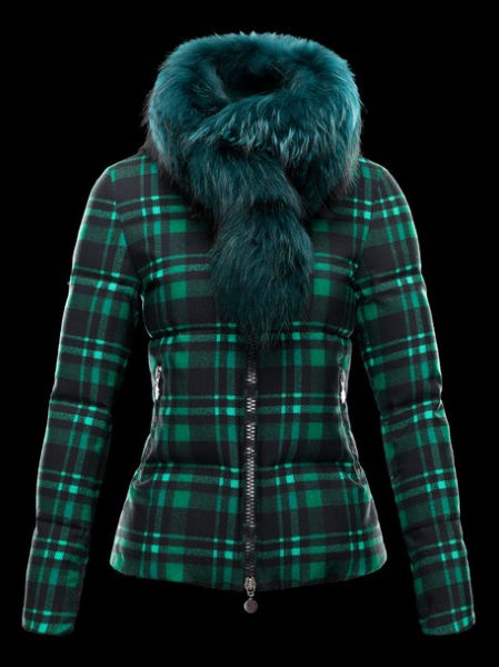 Moncler Lievre Womens Short Jacket Fur Collar Green
