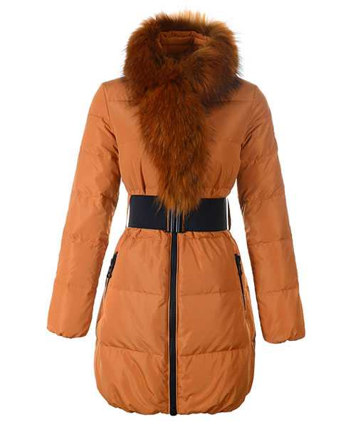 Moncler Lievre Women Coat Designer Long Orange