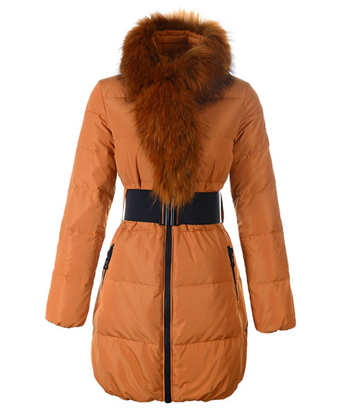 Moncler Lievre Womens Coat Designer Long Orange