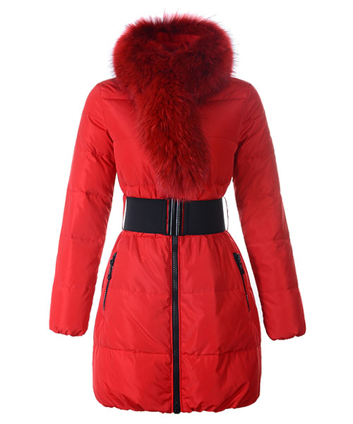 Moncler Lievre Womens Coat Designer Long Red