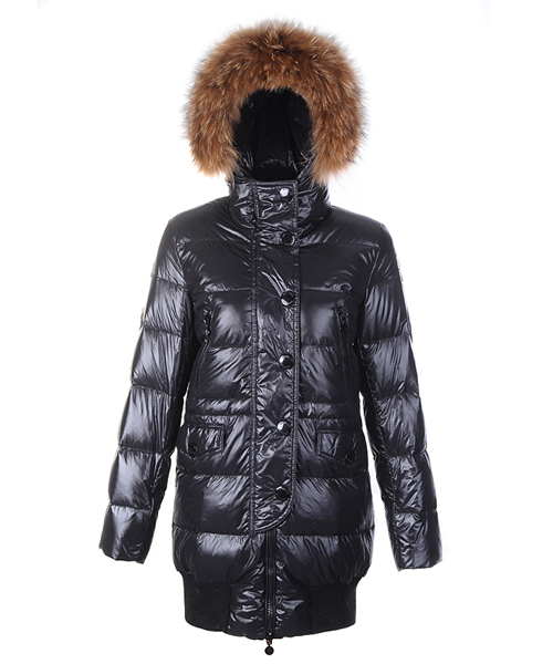 Moncler Loire Coat Women Fur Hoodie Zip With Button Black
