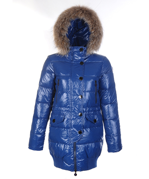Moncler Loire Coat Women Fur Hoodie Zip With Button Blue