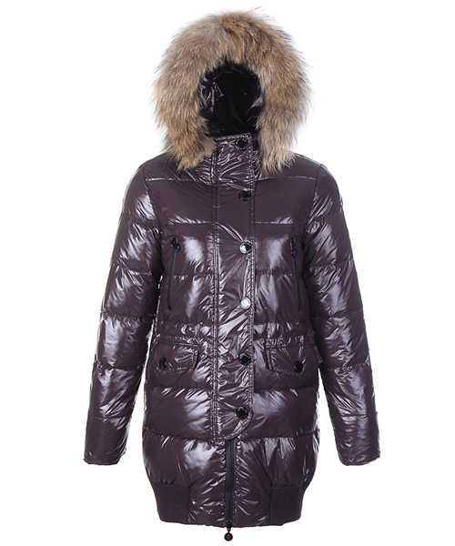 Moncler Loire Coat Women Fur Hoodie Zip With Button Coffee