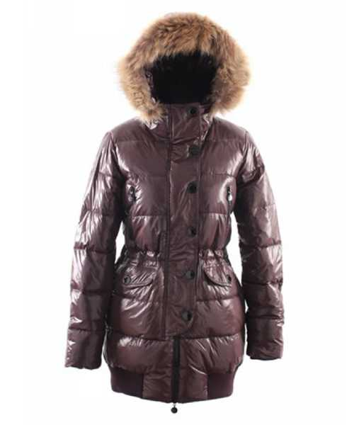 Moncler Loire Coat Women Fur Hoodie Zip With Button Ddark Coffee