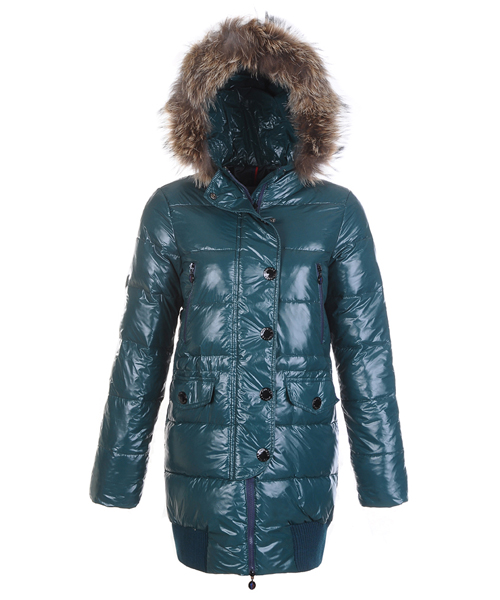 Moncler Loire Coat Women Fur Hoodie Zip With Button Green