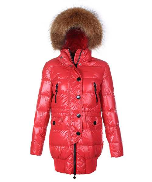 Moncler Loire Coat Women Fur Hoodie Zip With Button Red