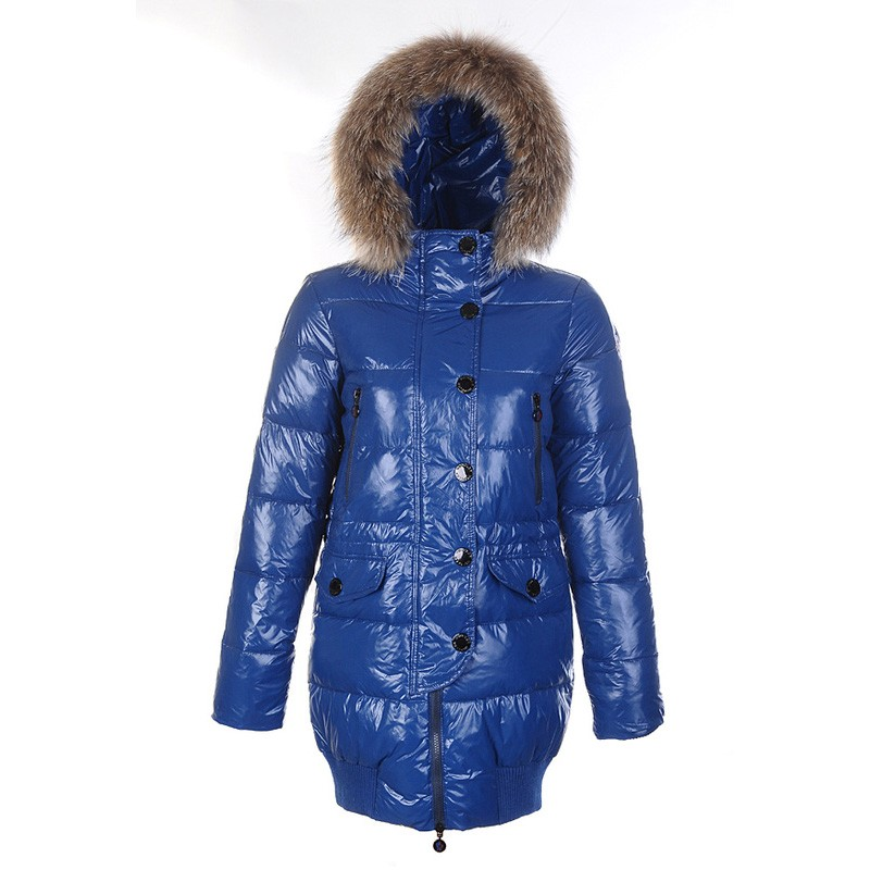 Moncler Loire Fur Hoodie Down Blue Coat Women